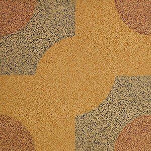 un pavimento di color giallo arancione e grigio