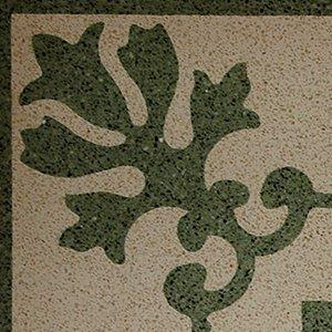 un pavimento di colore avorio con disegni verdi