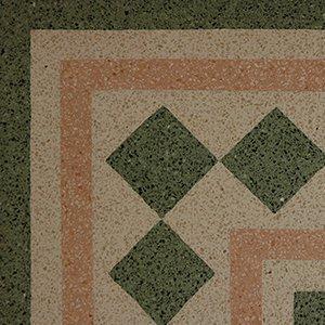 un pavimento di color verde avorio e arancione