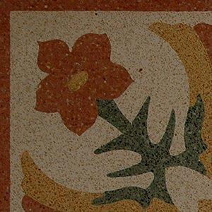 pavimento di colore avorio con un fiore rosso