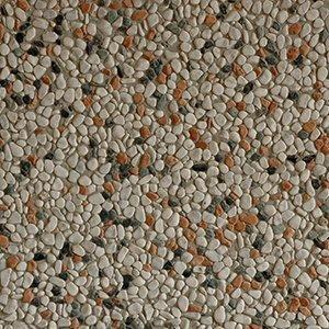 un pavimento di pietre bianche arancioni e verdi