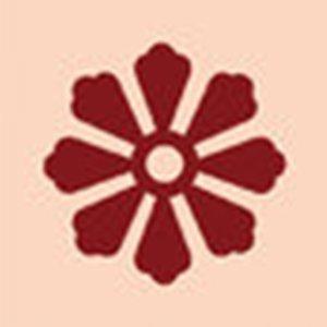 piastrella con un disegno di un fiore rosso