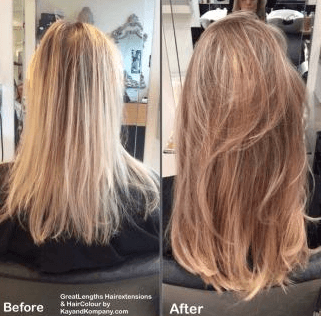 Before and after hair colouring