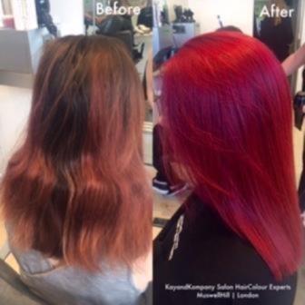 Red Hair haircolour expert long hair transformations kayandkompany salon hairdressers muswellhill london n10