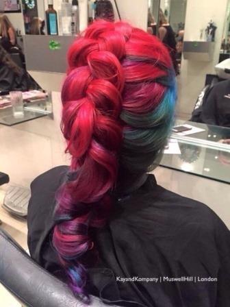 rainbow hair haircolours hair braids long hair transformations kayandkompany salon hairdressers muswellhill london n10