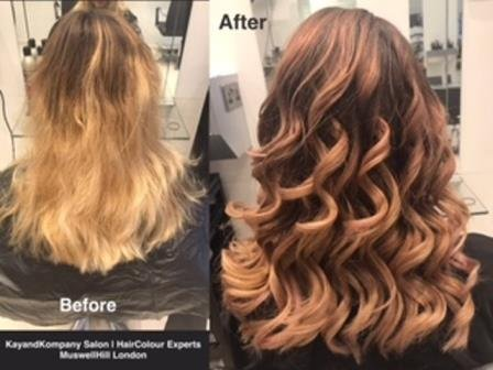 rose gold hair colour ombre hair long hair transformations kayandkompany salon hairdressers muswellhill london n10
