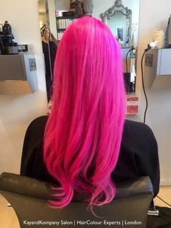 pink hair rainbow haircolours kayandkompany olaplex salon london n10 muswellhill hairdressers