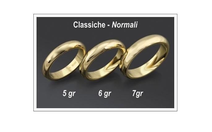 Fedi Classiche in oro giallo. CLASSICA: tonda e smussata normalmente realizzata senza pietre preziose in oro giallo, dall