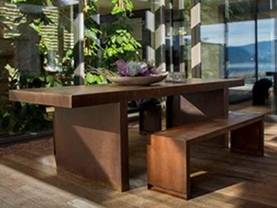 metal table and benches
