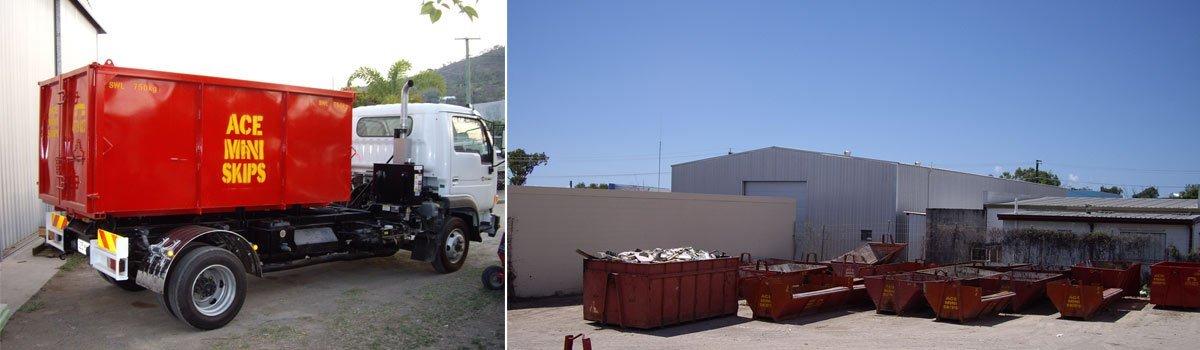 Ace Mini Skips bins and truck