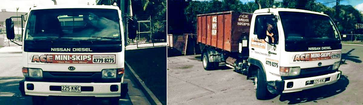 Ace Mini Skips truck with driver standing aside
