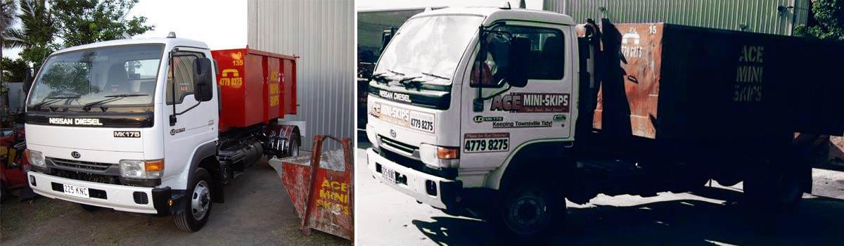 Ace Mini Skips truck standing