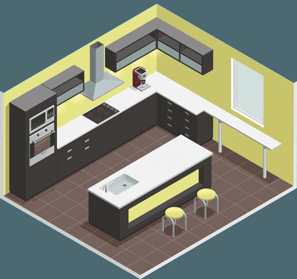 isometric illustration of new kitchen