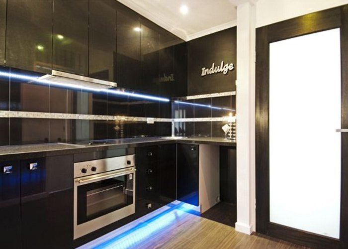 dark themed kitchen
