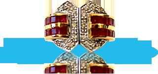 Pendenti d'oro,diamanti e rubini