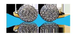 Orecchini di oro e diamanti con forma di sfera