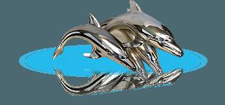 Spilla d'oro con quattro delfini