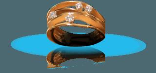 Anello di design moderno di oro con diamanti