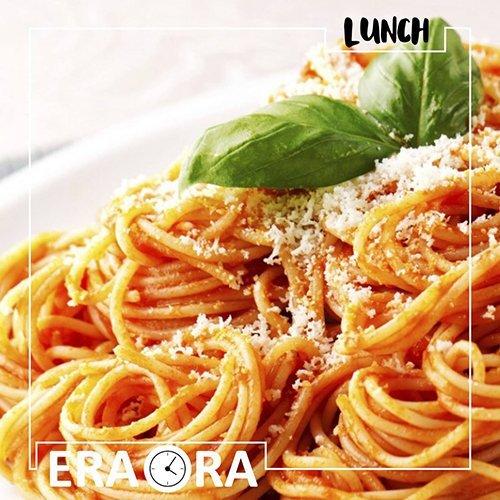 spaghetti al pomodori con grana e basilico