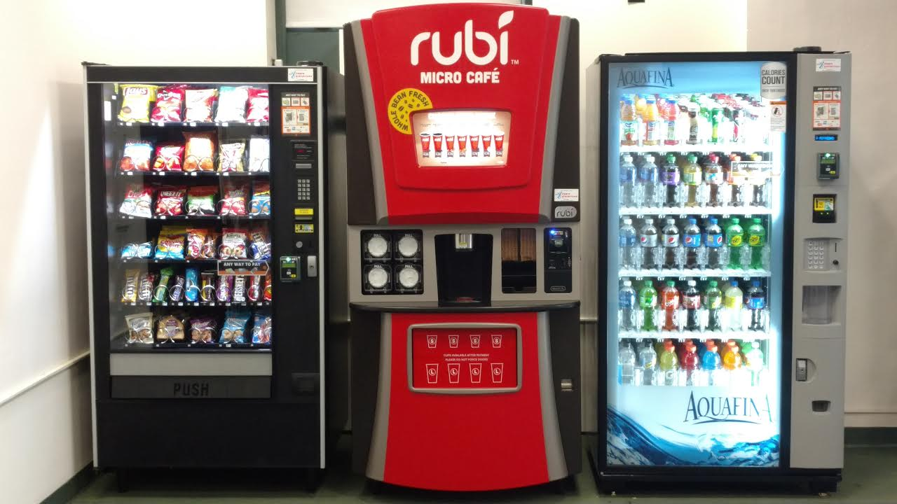 Glass front Beverage, Snack  Machine and Rubi all with Credit Card readers