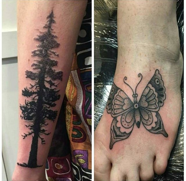 tree and butterfly tattoos