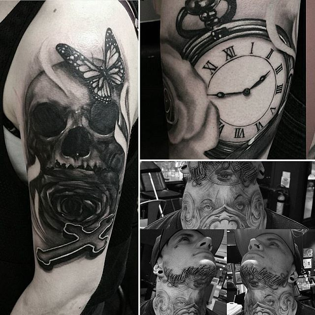 several black and white tattoos