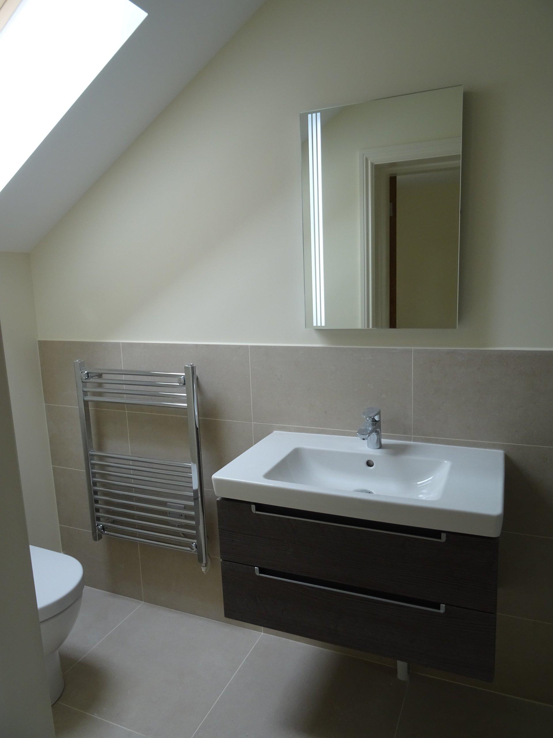 loft converted into a bathroom