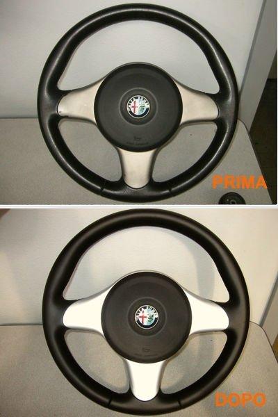 il prima e dopo una pulizia di un volante Alfa Romeo