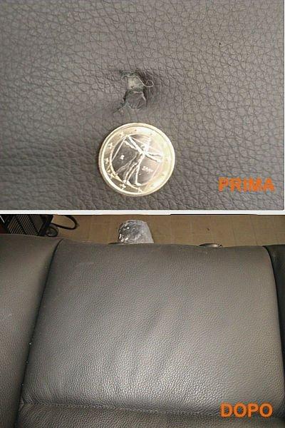 un sedile di pelle prima danneggiato e dopo riparato