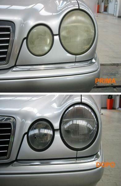 il prima e il dopo una pulizia di un fanale Mercedes