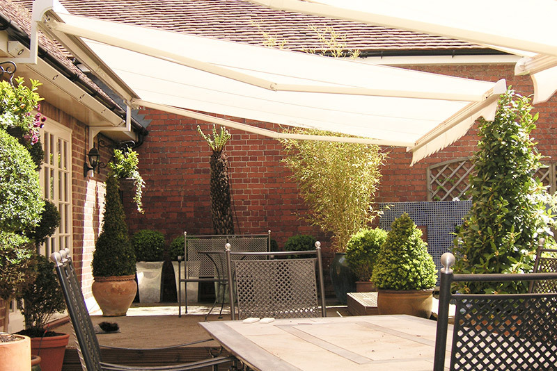 white awning shading a patio