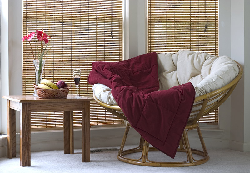 Comfortable chair and bamboo blinds