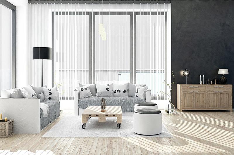 open vertical blinds in modern livingroom