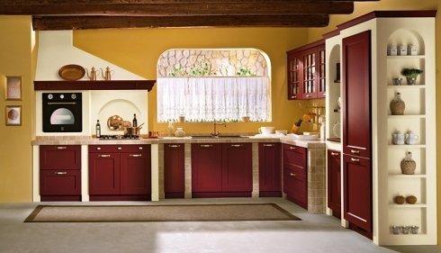 cucina con forno a vista