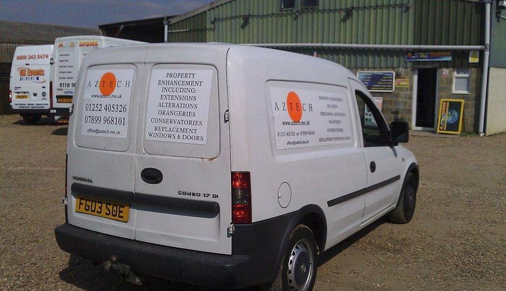AZTECH cream coloured van