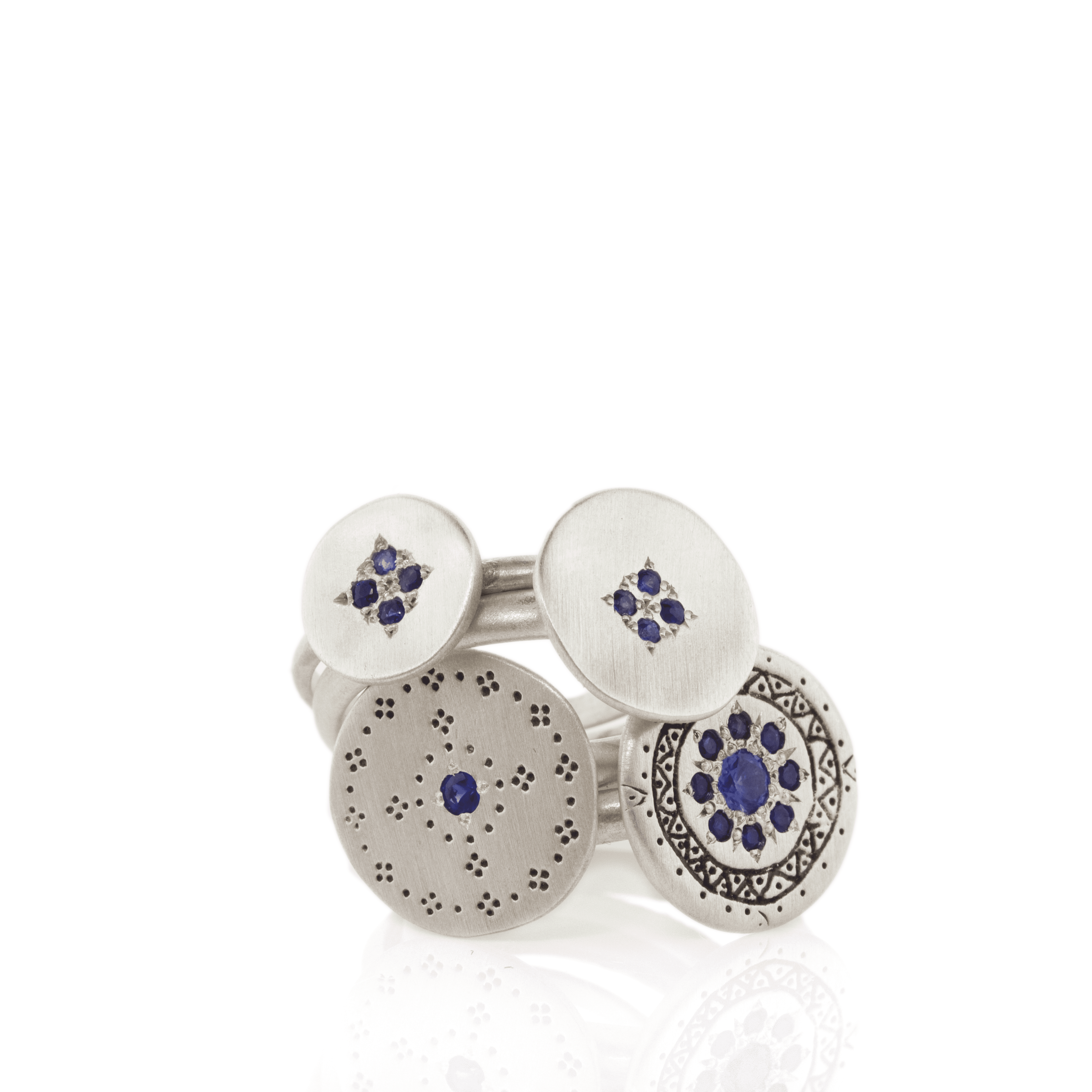 Silver and Blue Sapphire Rings