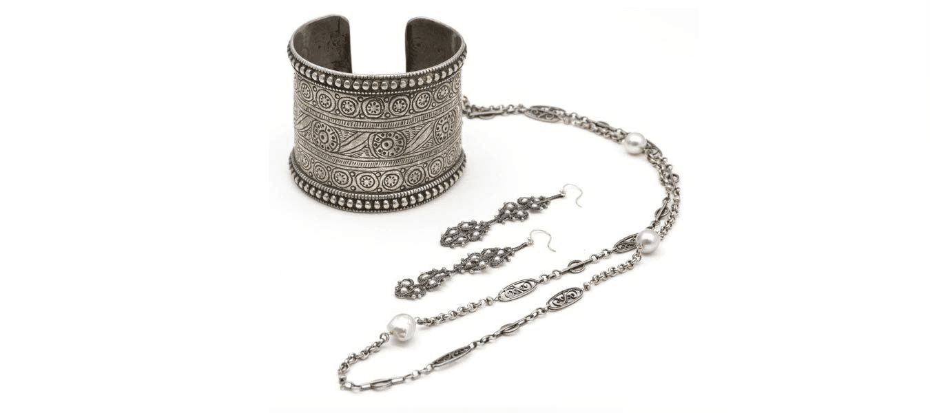 Decorated Silver Cuff and Necklace