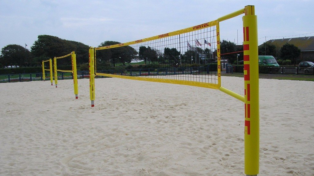 beach volleyball posts and court