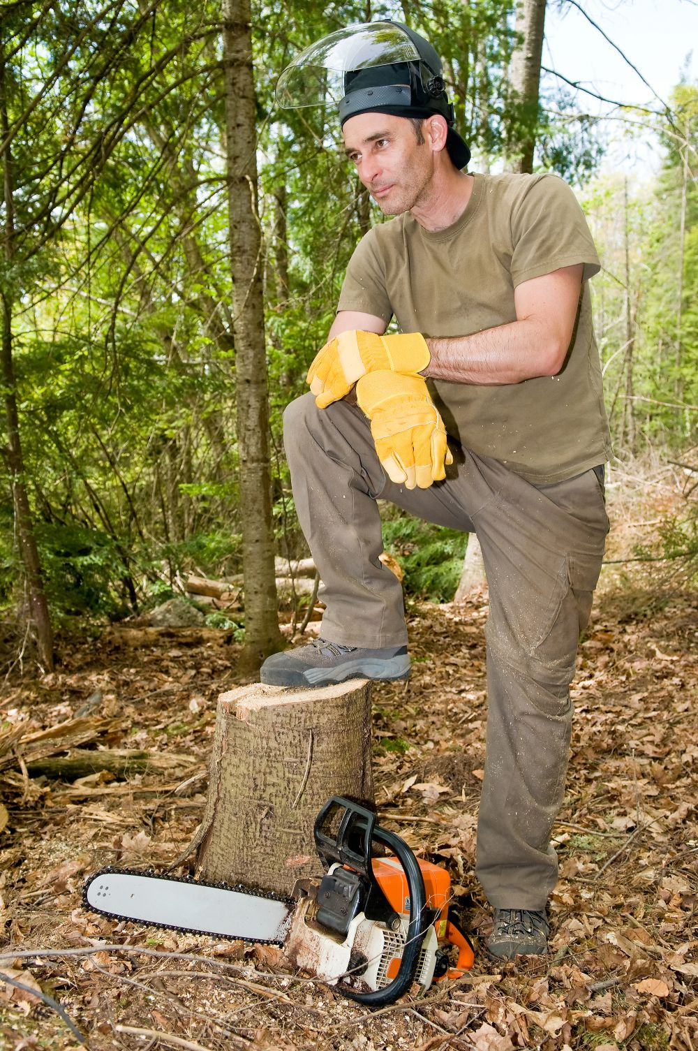 Man working on stump removal in Rochester, NY