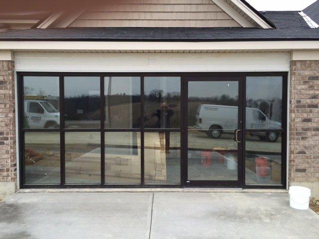 Repaired windows in a store front in Cincinnati