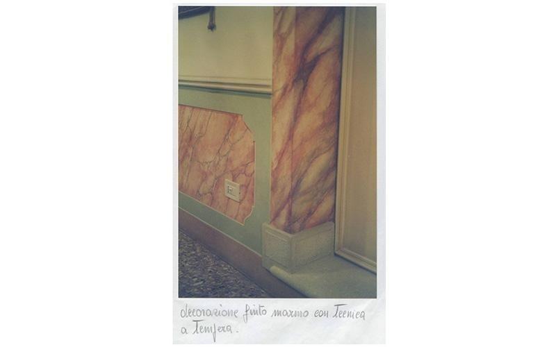 Decorazioni finto marmo con tecnica a tempera
