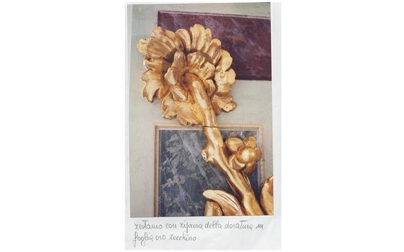 Restauro con ripresa della doratura in foglio oro zecchino