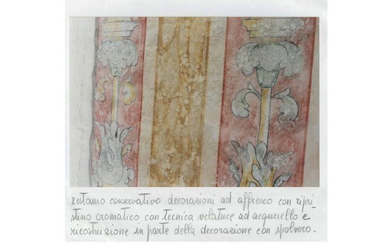 Restauro conservativo decorazioni ad affresco con ripristino cromatico con tecnica velature ad acque