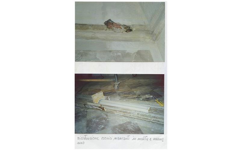 Ricostruzioni cornici mancanti in malta e marmorino