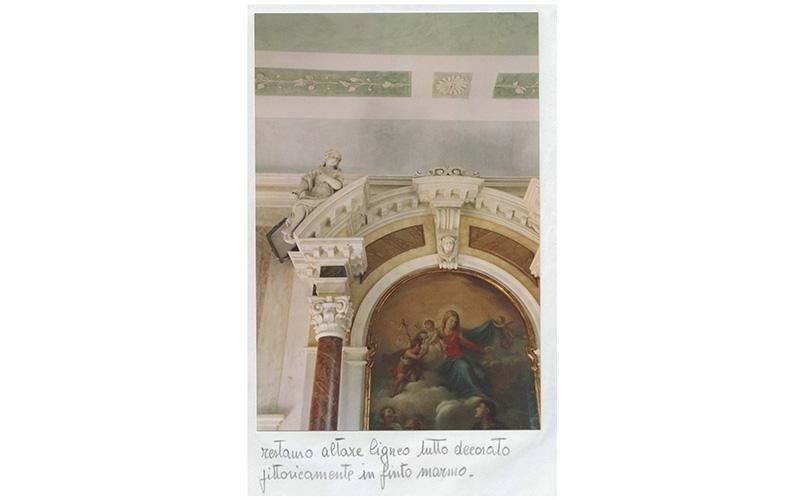 Restauro altare ligneo tutto decorato pittoricamente in finto marmo
