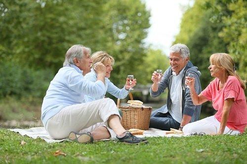 anziani in picnic al parco