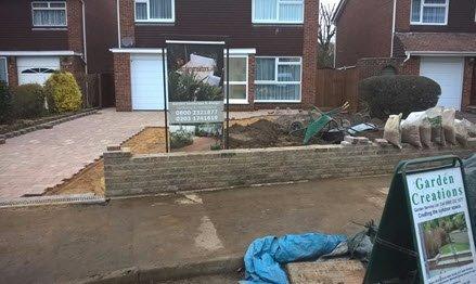 driveway during build & walls