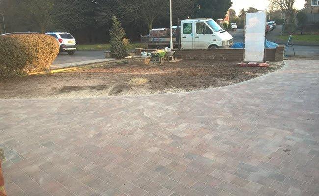 driveway during costruction tegula block paving