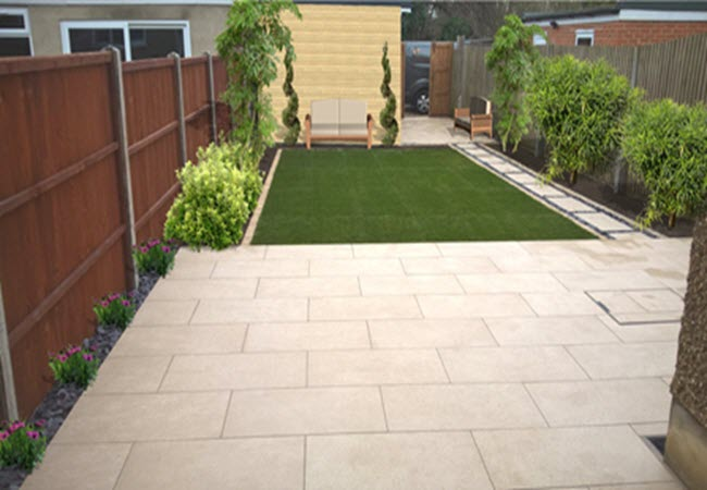 Garden patio and grass
