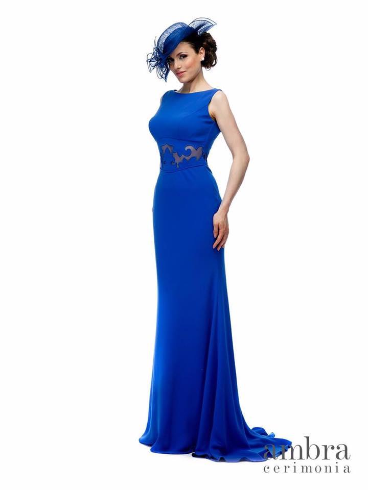 vestito elegante blu da donna con cappello